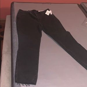NWT Nordstrom black high-rise loose ankle jeans
